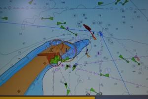 Tacoma rundar Skagen. Tacoma är den röda båten, den blå linjen är rutten jag lagt ut.