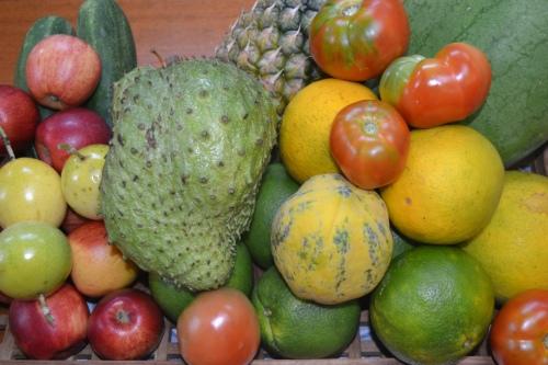 Den gröna taggiga frukten är soursop -vår favoritfrukt.